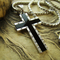 """1.57"""" High-Q Silver Nano Injection Plated Mens Onyx Cross Pendant Chain Necklace 91BS"""