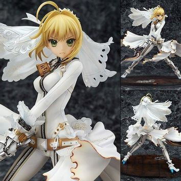 Fate/stay Night Saber White Dress Cartoon Doll PVC Box-packed Figurine World Anime Toy