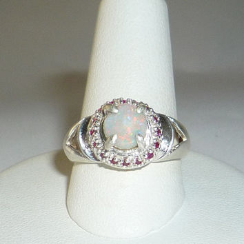 Australian Opal Ring & Natural Ruby Sterling Silver .925