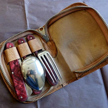Vintage Cased Folding Cutlery Picnic Set,  Rare Midcentury Picnic Utensils set, Gift for Him, Camping Case w Spoon, Fork, Knife, Man Cave