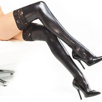 Sexy Lace Up Latex Thigh High Stockings