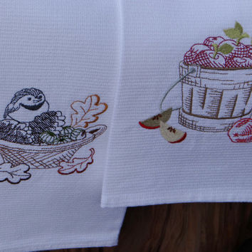Autumn Theme Cotton Huck Kitchen Towels - Chickadee and Apples