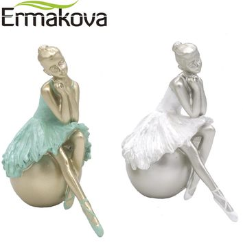 "ERMAKOVA 5.7"" Resin Elegant Ballet Dancing Girl Sculpture Ballerina Statue Figurine Dancer Ornament Home Wine Living Room Decor"