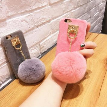 For Iphone 6 6S 6 Plus 6S Plus 7 7 Plus Cases Bling Rabbit Diamond Candy Color Phone Hard Cover With Fashion Fur Ball Phone Case