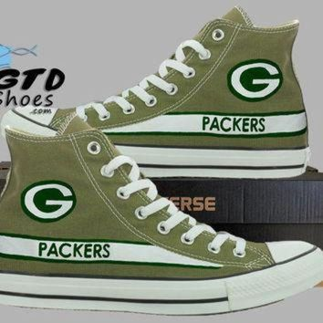 DCCK1IN hand painted converse hi green bay packers football superbowl handpainted shoes c