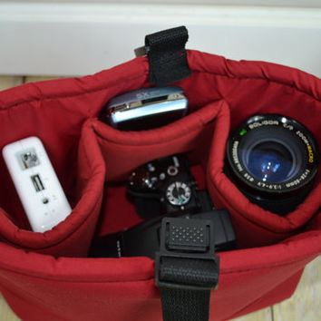 Camera Bag DSLR / Red, Water resistant foam padded insert, men or women, for purse, backpack- made in the USA by Darby Mack