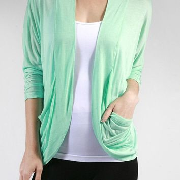 Career Open Front Draped Lightweight Thin Cardigan Shrug