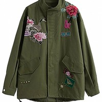 Army Green Embroidered Detail Studded Parka Jacket - Choies.com