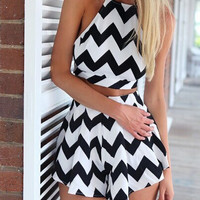 Monochrome Chevron Print Crop Top and Shorts