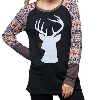 ZH Women Autumn Winter Long Sleeve T-shirts Solid Casual Christmas Elk Deer Print Tops Women Clothing Female T-sh HOT