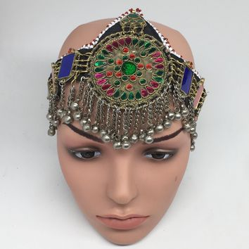 Kuchi Headdress Headpiece Afghan Ethnic Tribal Jingle Alpaca Bells Glass,CK650