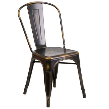 Distressed Copper Metal Indoor-Outdoor Stackable Chair