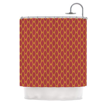 "Nandita Singh ""Marsala & Mustard"" Red Pattern Shower Curtain"