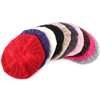 Multi Color Women Braided Baggy Beanie Beret Crochet Knitted Hat Warm Winter Cap