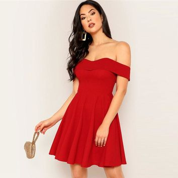 Red Foldover Front Off Shoulder Fit And Flare Solid Dress Sexy Women Night Out Ladies Short Party Dresses