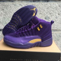 Air Jordan 12 Retro AJ 12 Purple Wool Men Women Basketball Shoes