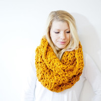 FALL SALE The CALGARY scarf - Chunky Cowl Scarf Hood Neckwarmer - butterscotch/mustard - wool blend