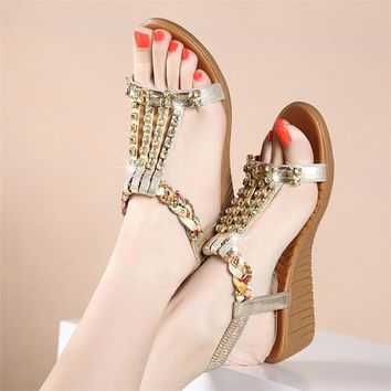 Women's Summer Metallic Fish Mouth Genuine Cowhide Leather Gladiator Wedge Sandals