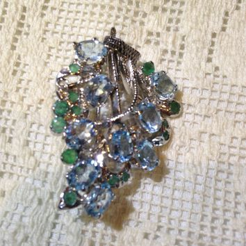 Vintage Handmade Genuine Aquamarine and Emerald 925 Sterling Silver Rhodium Brooch