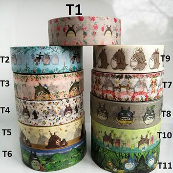 NEW TOTORO Washi Tape Set - Pick Your Own TOTORO Washi Tape Sample (50cm per design)