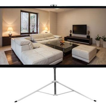 72-inch Video Projector Screen, Easy Fold-Out & Roll-Up Projection Display, Tripod Stand Style
