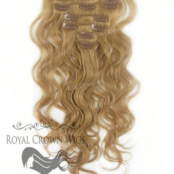 Brazilian 7 Piece Body Wave Human Hair Weft Clip-In Extensions in #8