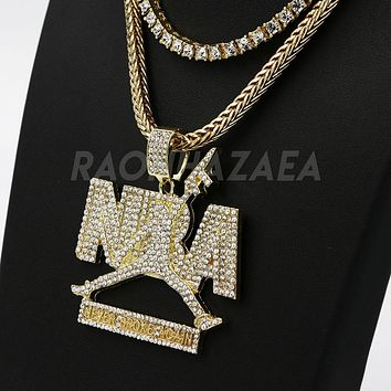 Hip Hop NEVER BROKE AGAIN Exclusive Pendant W/ Franco & Tennis Choker Chain Set