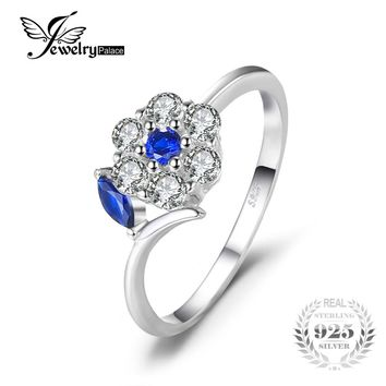 JewelryPalace Brand 0.73 ct Created Blue Spinel Flower Finger Rings For Women Party 925 Sterling Silver Fine Jewelry New Fashion