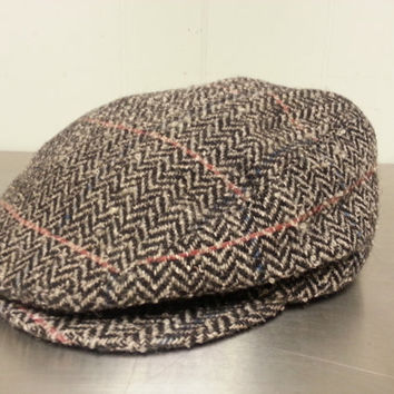 Vintage Thinsulate Tweed Style Wool Newsboy Cabbie Hat Size Large Hipster Style Dad Hat Golf Cap Made In USA Fall Fashion