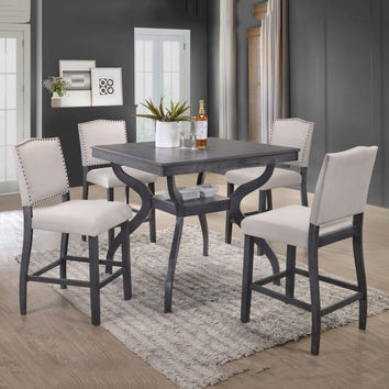 Best Quality D46-5PC 5 pc Paulina collection antique gray finish wood counter height dining table set