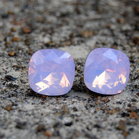 Light Pink Opal Swarovski Crystal Earrings Light Pink Opal Stud Earrings Opal Studs Rounded Square Studs Mashugana