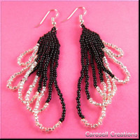Looped Native American Style Beadwork Seed Beaded Earrings in Silver