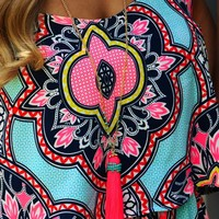 All Eyes On Me Necklace: Neon Pink