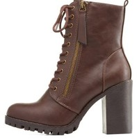 Brown Zipper-Trim Chunky Heel Combat Boots by Charlotte Russe