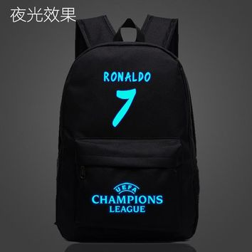 Student Backpack Children Fashion Cristiano Ronaldo School Bag noctilucous Luminous backpack student bag Notebook backpack Daily backpack Glow in the Dark AT_49_3