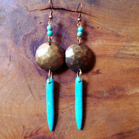 Turquoise and Gold Spike Earrings
