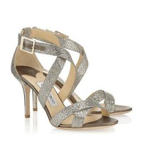 Jimmy Choo Women Sequins Buckle Heels Shoes Sandals