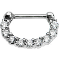 """16 Gauge 1/4"""" Surgical Steel Clear CZ Septum Clicker 