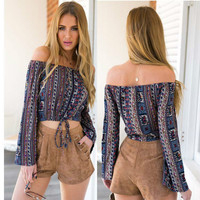 New Arrival Women Summer Boho Shirt Sexy Off The Shoulder Printed Crop Top Multi Color Long Sleeve Blouse Girl Summer Top FH8071