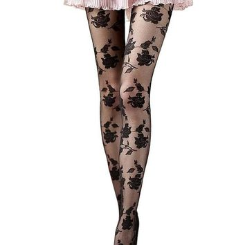 Sheer Floral Tights