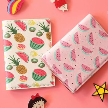 Fruit Travel Passport Cover 14*10CM PU Leather