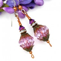 Purple Earrings, Czech Glass Amethyst Crystals Handmade Jewelry Gift
