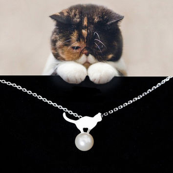 Womens 925 Silver Cat Necklace + Gift Box Jewelry-75