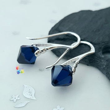 Swarovski Crystal Earrings, Dark Indigo, Sterling Silver, Gift for her, wife, girlfriend, fiancee, sister, Prism, Blue, Navy