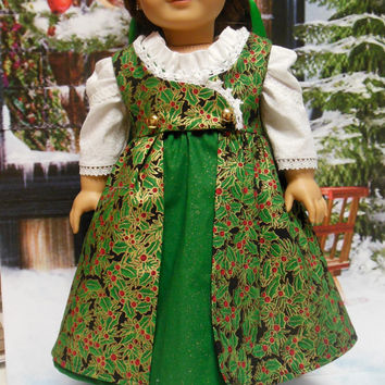 "Historical American girl doll clothes ""Gilded Holly"" (18 inch)Early 1800s Regency dress and pinafore"