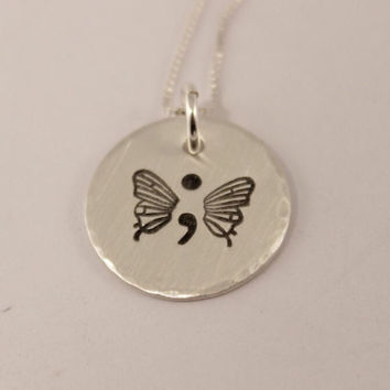 Hand Stamped Semi Colon Butterfly Necklace - Semicolon Necklace