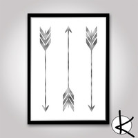 Silver Arrow Set 3 x Arrow Wall Art, Digital Prints, Arrow Wall Art, Downloadable Art, Silver Leaf, Arrow Art, Digital Art, Arrow Prints