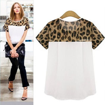 Woman Summer Chiffon Blouses Round Neck Short Sleeve Casual Blouses Tops Leopard Print Patchwork Clothing Blusas