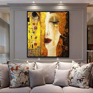 SELFLESSLY Art Gustav Klimt Golden Tears And Kiss Paintings Canvas Wall Art Printed Pictures Famous Artwork Decorative Painting
