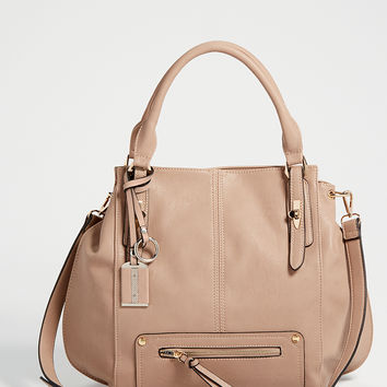 satchel with zipper pocket in taupe